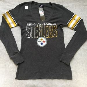 NFL steelers gray long sleeve top size medium